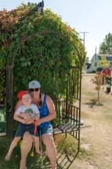 Courtney Liske and son at mini golf in Manitou Beach