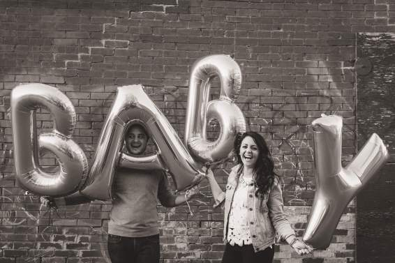 Baby announcement with balloons
