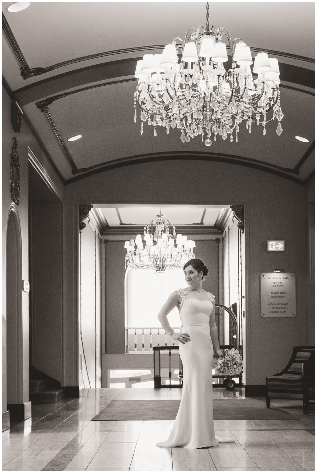 Mark & Kyra - Wedding - 09 - Kyra - Bride in Hotel Sask Lobby