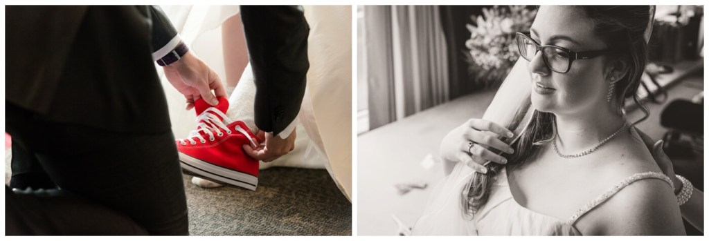 Regina Wedding Photographer - Tori - Bride Preparation - Chuck Taylor sneakers