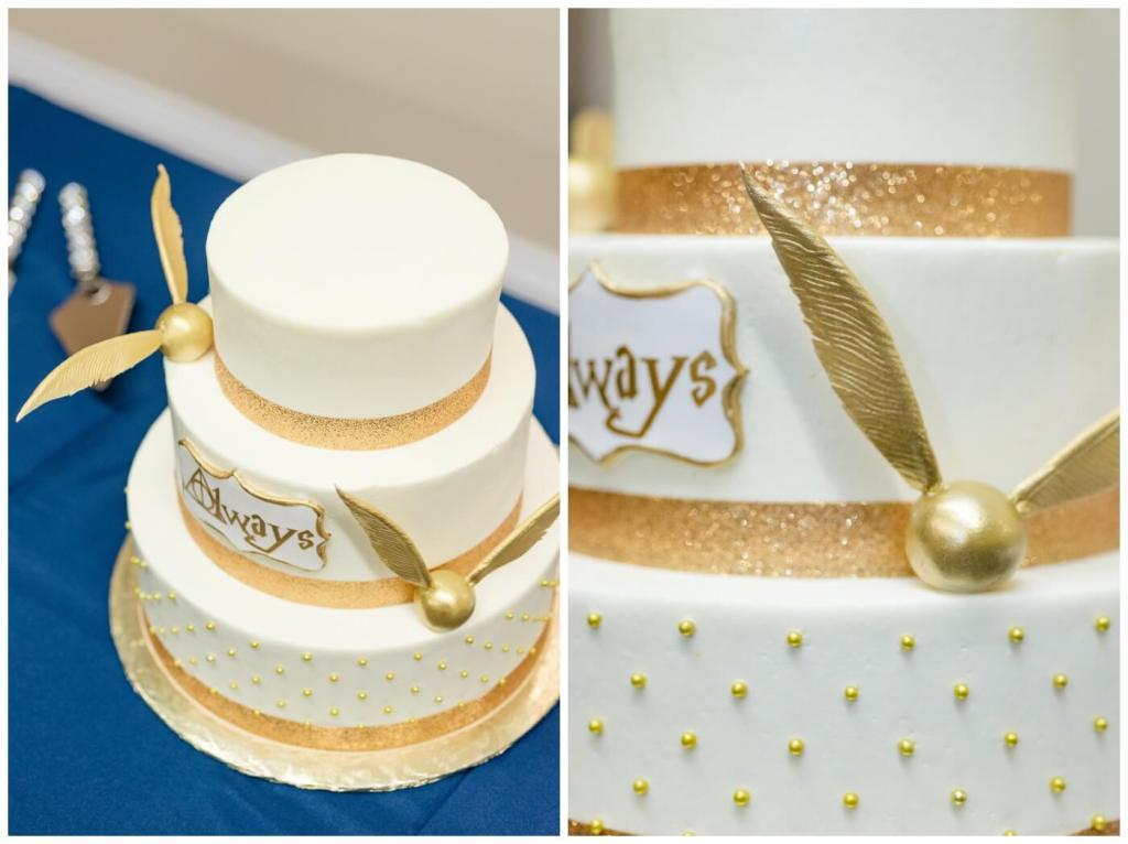 Regina Wedding Photographer - Cole-Alisha - Sinfully Sweet Cathedral Bakery - Elegant Harry Potter Wedding Cake