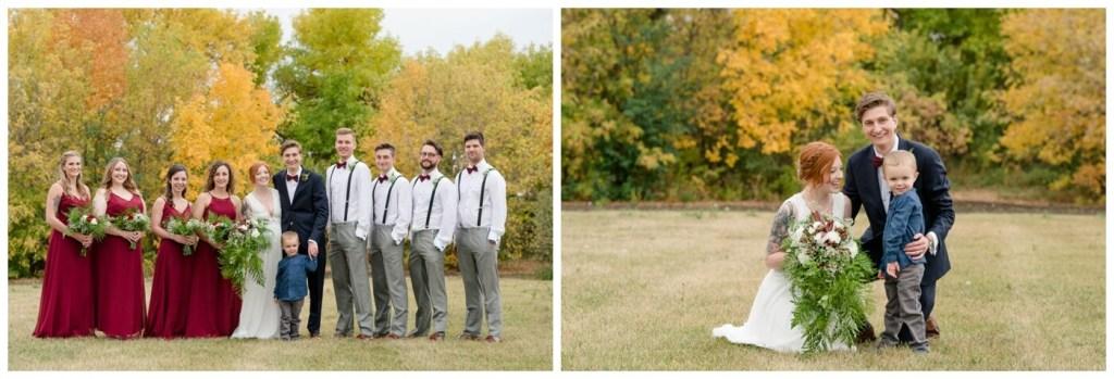 Regina Wedding Photographers - Cole-Alisha - Fall Wedding - Bridal Party - Ringbearer - Burgundy Chiffon Dresses - Grey Suits