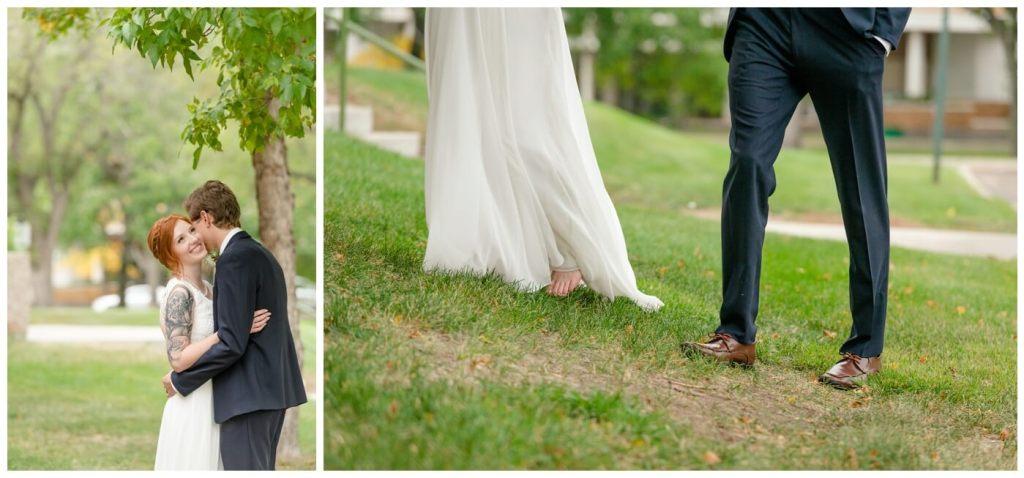 Regina Wedding Photography - Cole-Alisha - Fall Wedding - Barefoot Bride - Navy Suit - Chiffon Wedding Dress