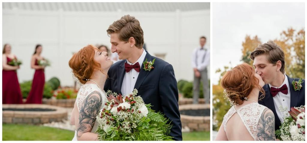 Regina Wedding Photography - Cole-Alisha - Fall Wedding - Man and wife - Navy Suit - Lace Gown - Wild Bouquet