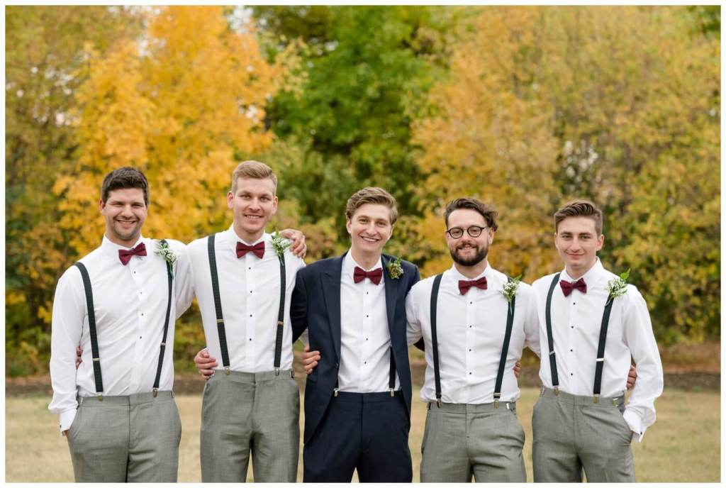 Regina Wedding Photography - Cole-Alisha - Fall Wedding - Navy & Grey Suits - Bowties - Groomsmen