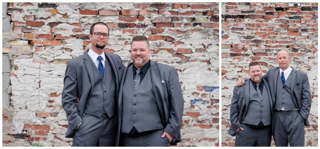 Regina Wedding Photographer - Scott-Ashley - Fall Wedding - Groom - Groomsmen - Grey Suit - Blue Tie - Exposed Brick
