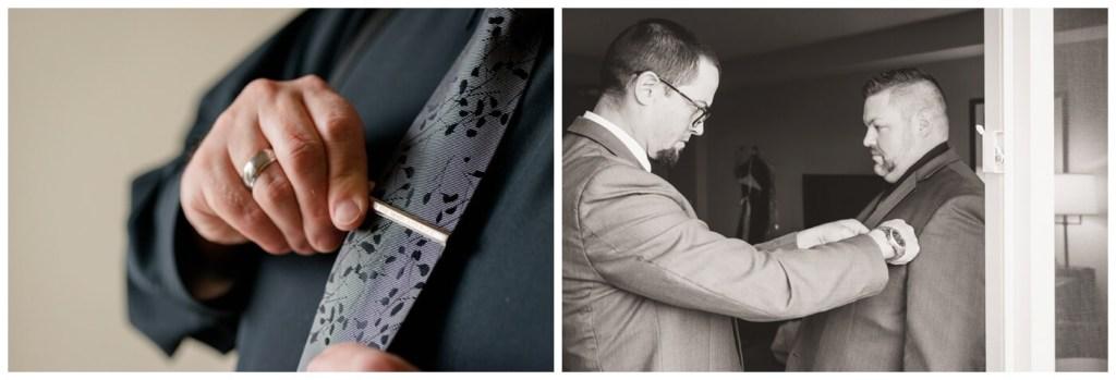 Regina Wedding Photography - Scott-Ashley - Fall Wedding - Groom Preparation - To the moon and Back - tie clip