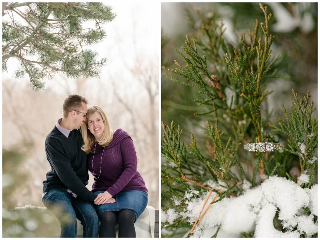 Regina Engagement Photographer - Dave-Sarah - Winter Engagement Session - Kiwanis Park Regina - Purple Sweater - Jean Skirt