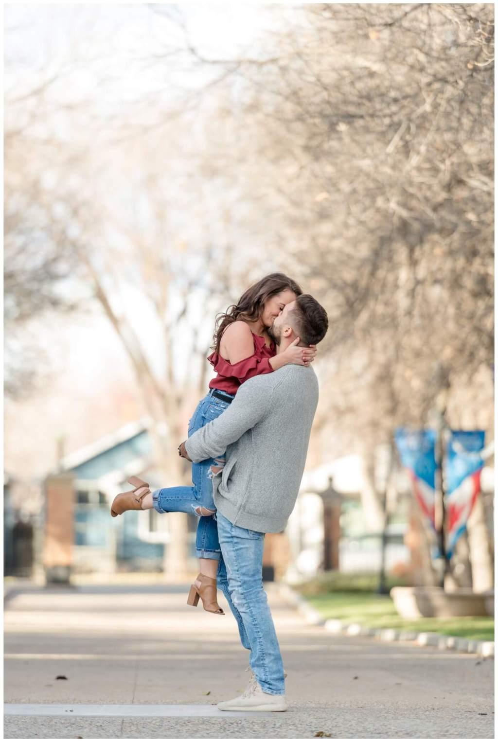 Regina Engagement Photography - Ben-Kaitlyn - Thai Engagement - Government House - Lift Kiss