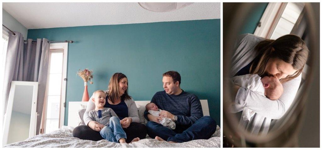 Regina Family Photographer - Jensen Newborn - Keltie - Josh - Kayden - Teal Bedroom - In home Family Session
