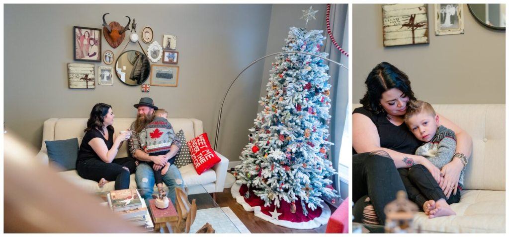 Regina Family Photographer - Keen Family - Dionne-Timothy-Shepherd - In home Family Session - Christmas Tree
