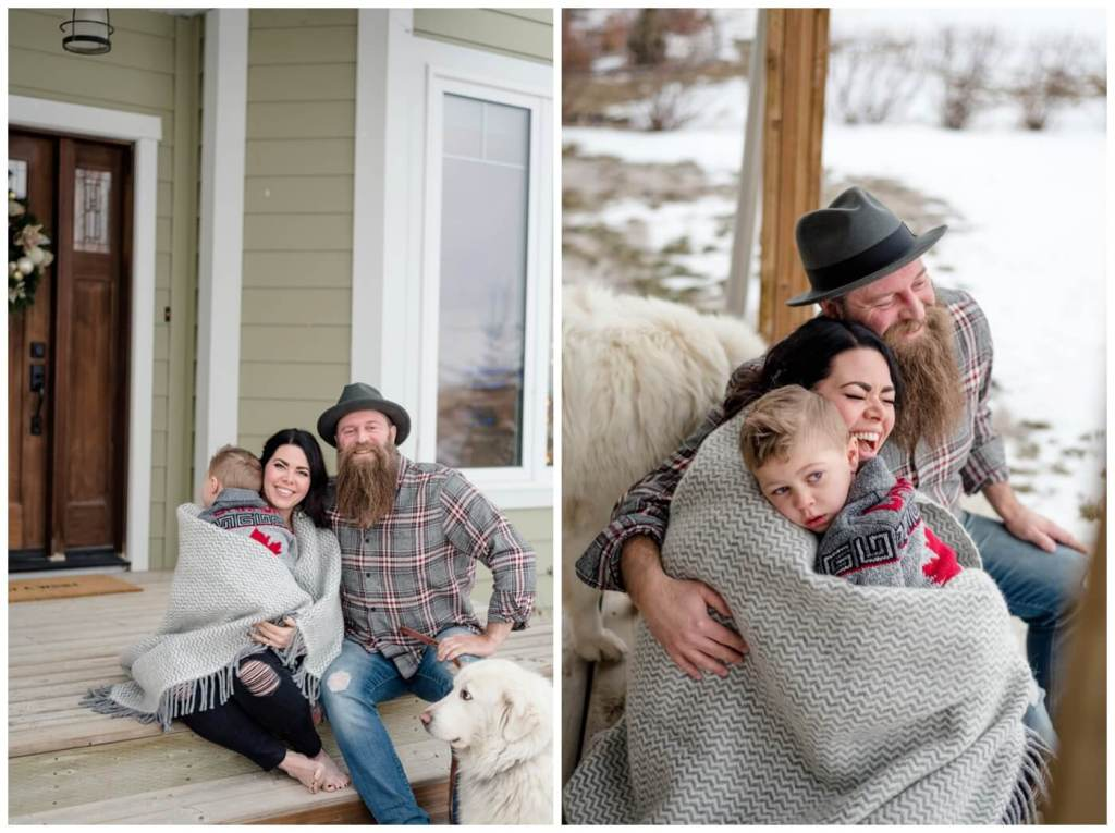 Regina Family Photography - Keen Family - Dionne-Timothy-Shepherd - In home Family Session - Lumsden - Front Porch Snuggle - Blanket - Barefeet