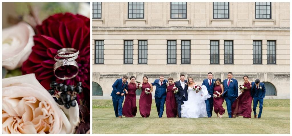 Regina Wedding Photography - Laurie - Destiny - Fall Wedding - Regina Legislative Building - Bridal Party - Wascana Flower Shoppe - Wine Bridesmaid Dresses - Royal Blue Suits & Red Tie
