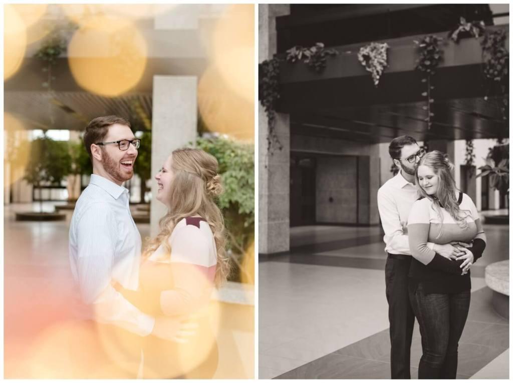 Regina Engagement Photography - Regina Wedding Photographer - Mitch-Latasha - Winter Engagement - TC Douglas Building - MacKenzie Art Gallery - Pink Sweater - Blue Jeans