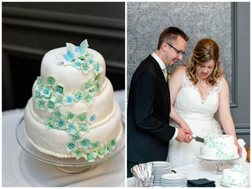 Dave & Sarah Wedding - Hotel Saskatchewan - Wedding Cake - Butterfly Hydrangeas