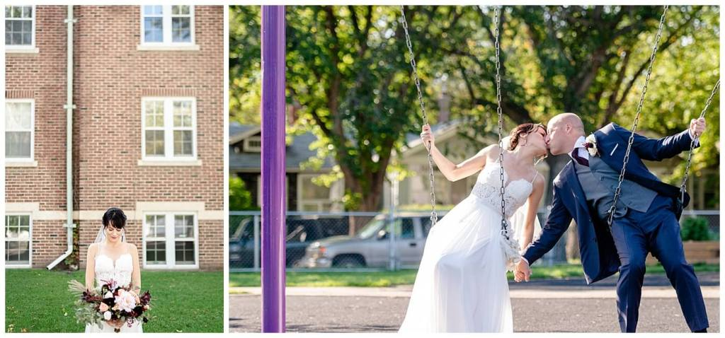 Scott & Keely - Regina Wedding - Swingset Kiss