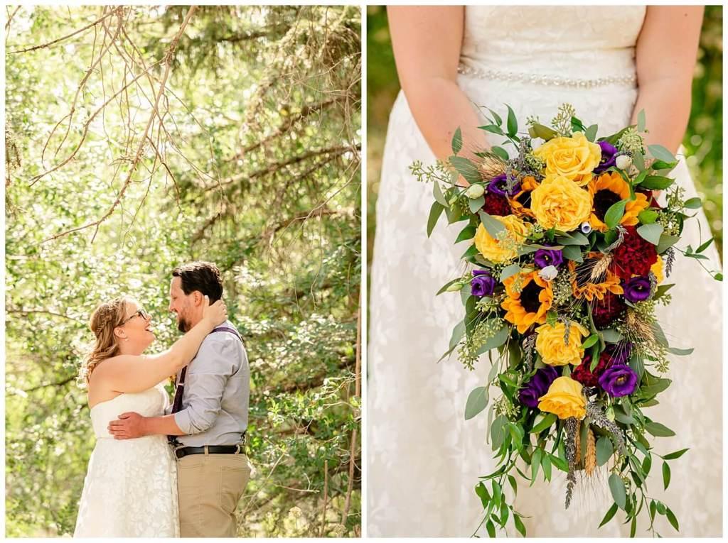 Regina Wedding Photography - Ryan - Aeliesha - Brides bouquet full of roses & sunflowers from Wascana Flower Shoppe