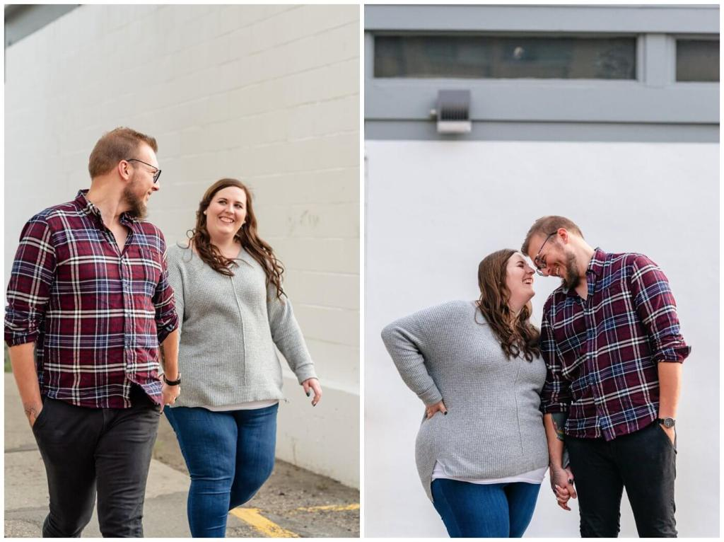 Regina Engagement Photographer - Kolton & Maxine - 006 - Walking and laughing