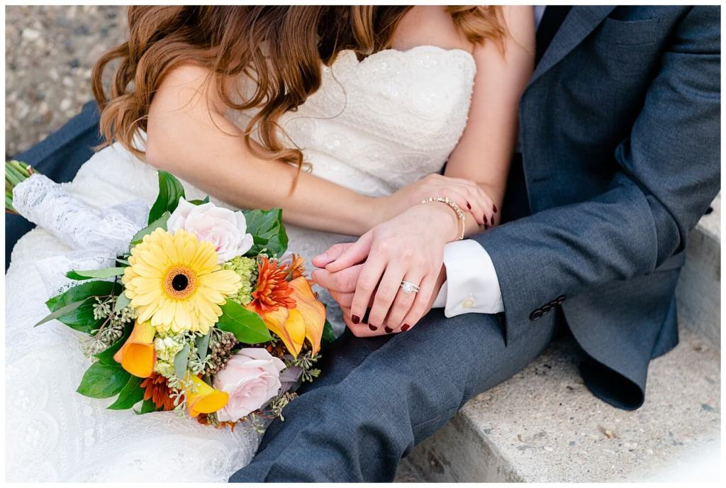 Regina Wedding Photographer - Tim & Jennelle At Home Wedding - Bride resting on groom showing ring