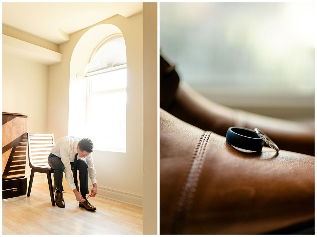 Regina Wedding Photographer - Tim & Jennelle At Home Wedding - Groom tying brown shoes and rings on shoes