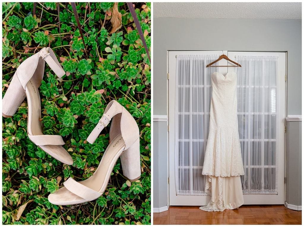 Regina Wedding Photographer - Tim & Jennelle At Home Wedding - Bride's shoes and Wtoo Dress