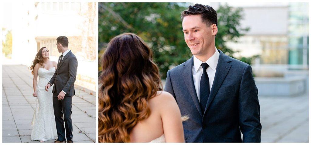 Regina Wedding Photographer - Tim & Jennelle At Home Wedding - First Look as groom turns around