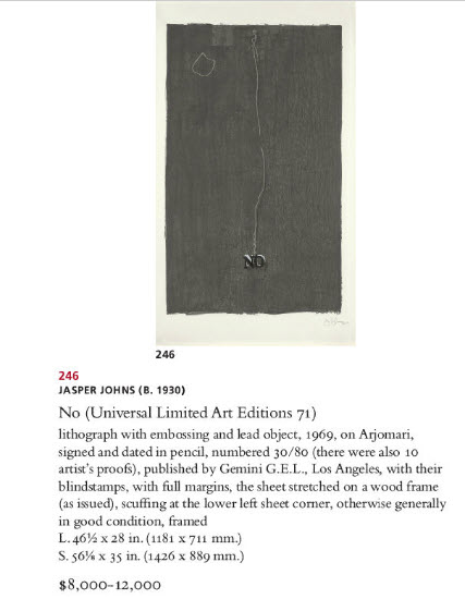 Jasper Johns Auction, Christies Auction, Prints Auction