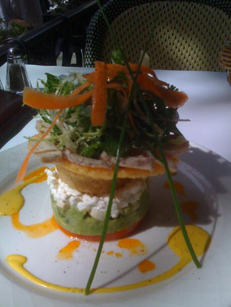 layered salad, Orsay New York, lunch at Orsay