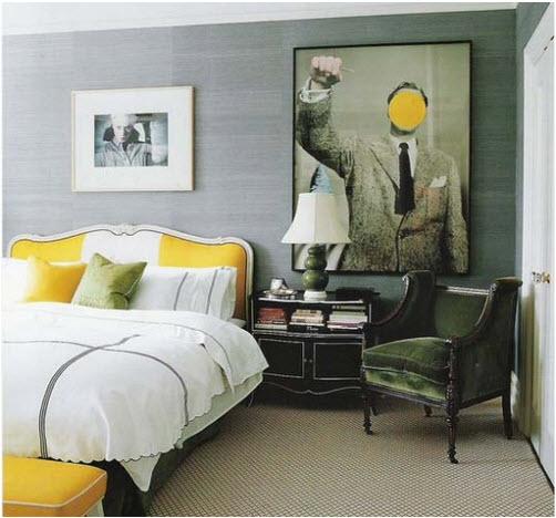 modern art yellow dot over face