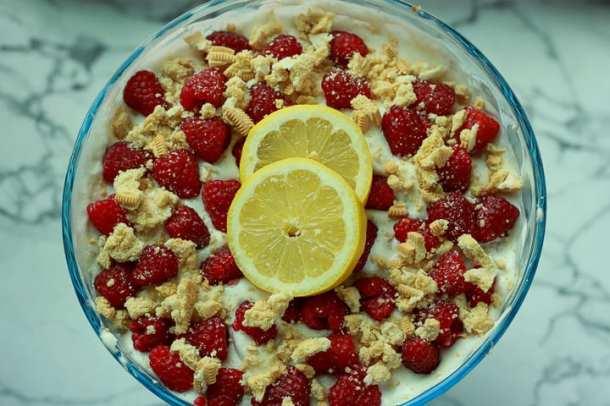 vegan raspberry lemon trifle