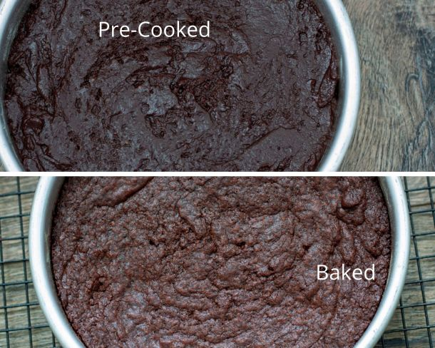 pre baked chocolate cake and after baked chocolate cake