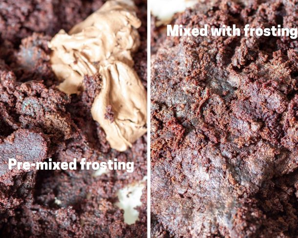 Before and after of vegan chocolate cake with frosting.