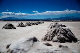 Salt mounds in Uyuni.