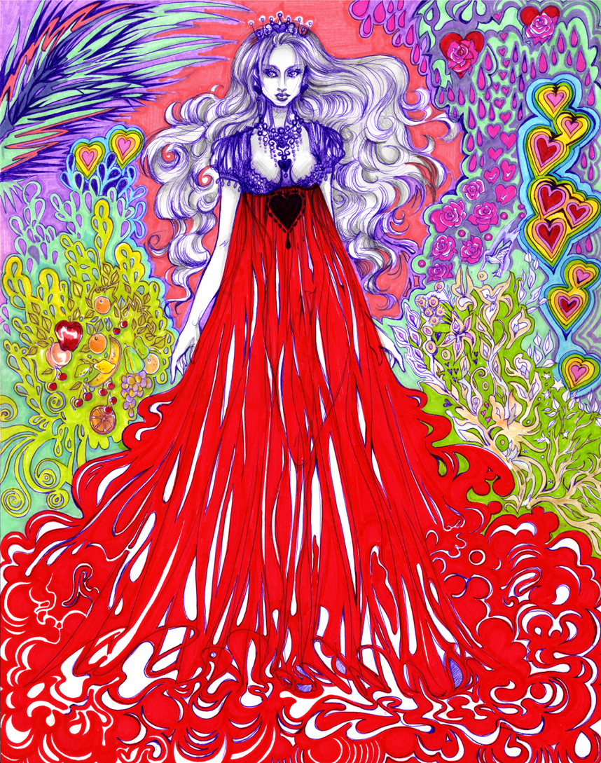 This is an image of the Queen of Hearts from Alice in Wonderland.  Ballpoint pen and marker.