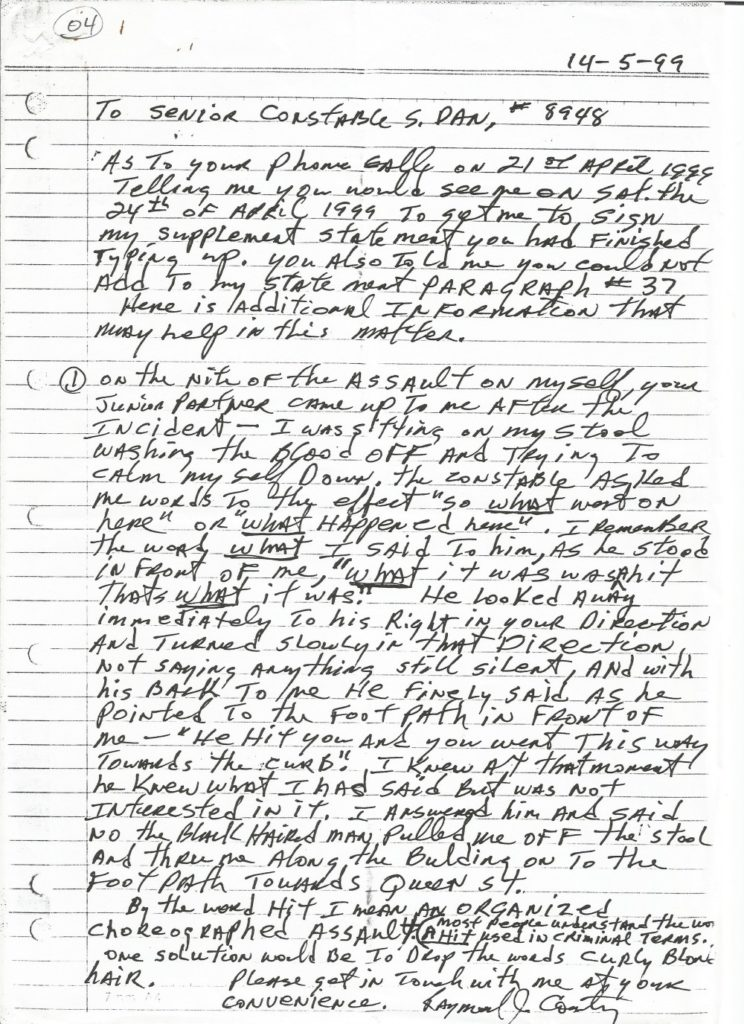 FOI Report by Senior Constable Shane Dan of the Assault