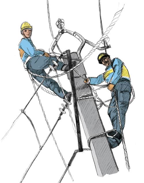 illustration ouvriers poteau carte de vœux cce edf