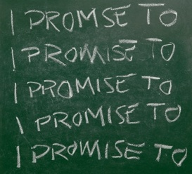 "the words ""I Promise"" to written multiple times on chalkboard"