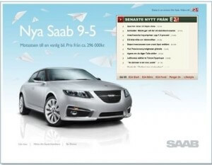 Example of a print ad for a Saab car