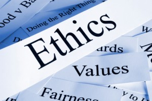 Ethics, values and fairness...printed words on paper