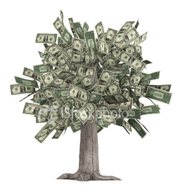 Illustration of a tree with dollar bills on it instead of leaves