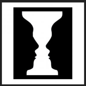 visual trick - looks like a face or two profiles in silhouette