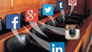 Juror box containing social media icons