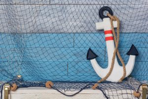 Ship's anchor and fishnet