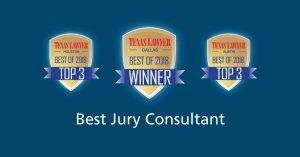 Best jury consultant graphic with Texas Lawyer logos