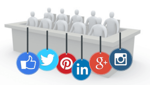 Jurors in jury box with social media icons