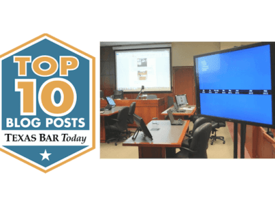 Top Ten Blog Award and Photo of Courtroom Technology