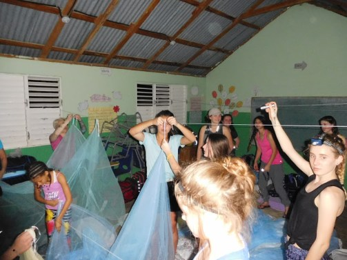 Setting up mosquito nets