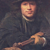 Thumbnail and detail of painting by Aert de Gelder of man in dark clothing and hat, holding a spear, looking at viewer.