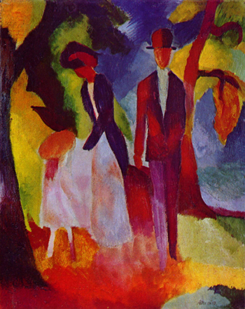 Painting by August Macke in blocks of bold color showing man and woman and small child, with trees around them and blue sky in background.