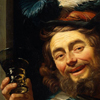 Thumbnail and detail of painting by Gerrit van Honthorst showing a man with a broad smile, possibly drunk, with wine glass in one hand and a violin in the other.